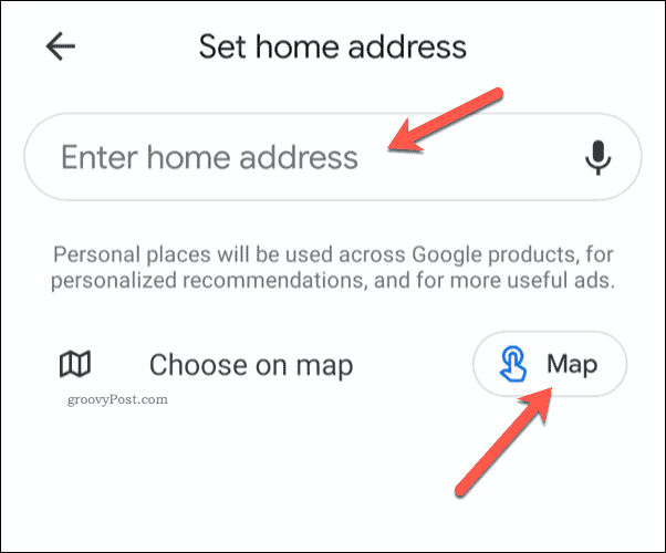 Setting Google Maps Home Address on Mobile