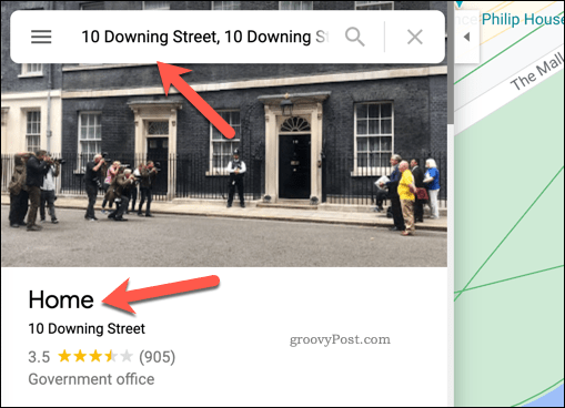 Example home address in Google Maps
