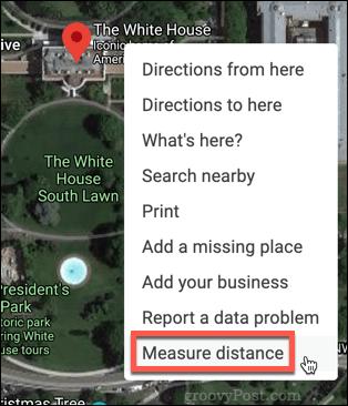 Google Maps Measure Distance option