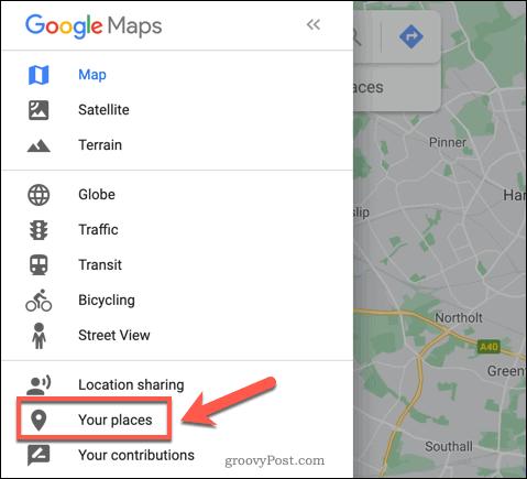 Google Maps Your Places option