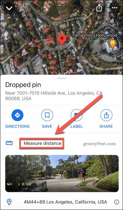 Google Maps measure distance button on mobile