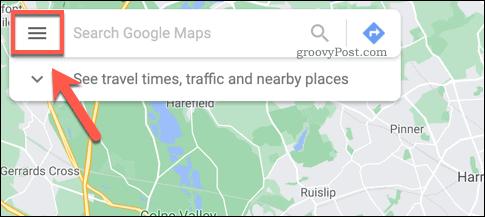 Google Maps hamburger menu icon