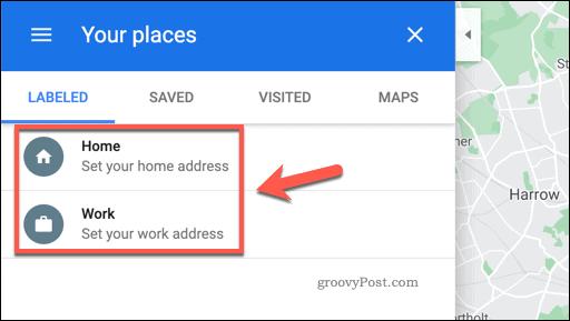 Google Maps Your Places menu