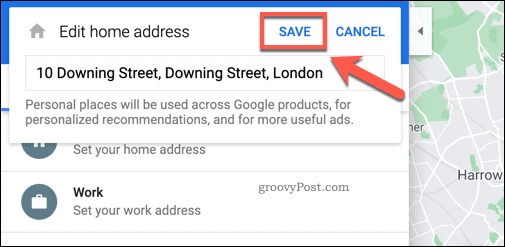 Saving a home address in Google Maps