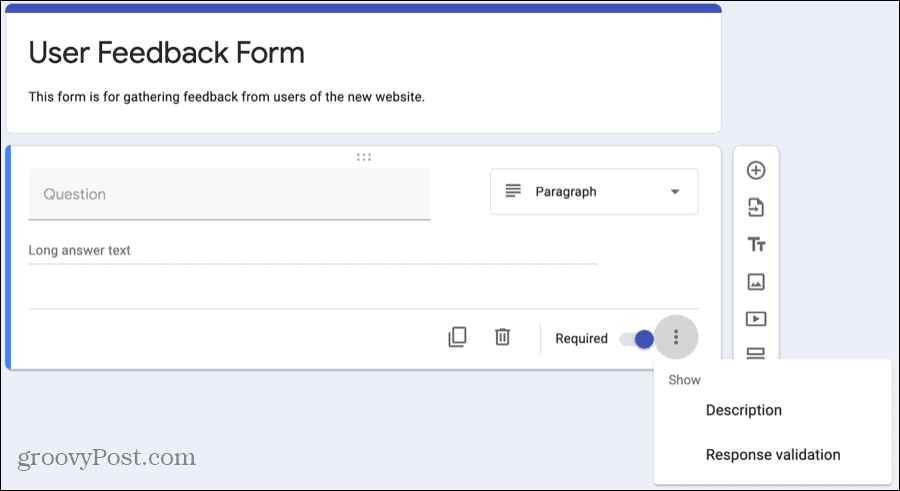 Google Forms Customize Question