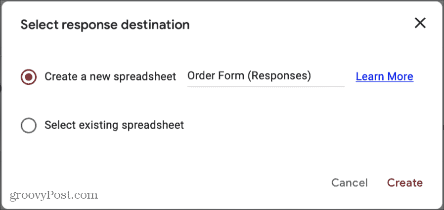 Google Forms Responses Destination