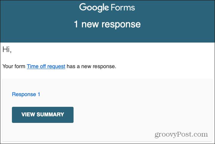 Google Forms Responses Email Alert