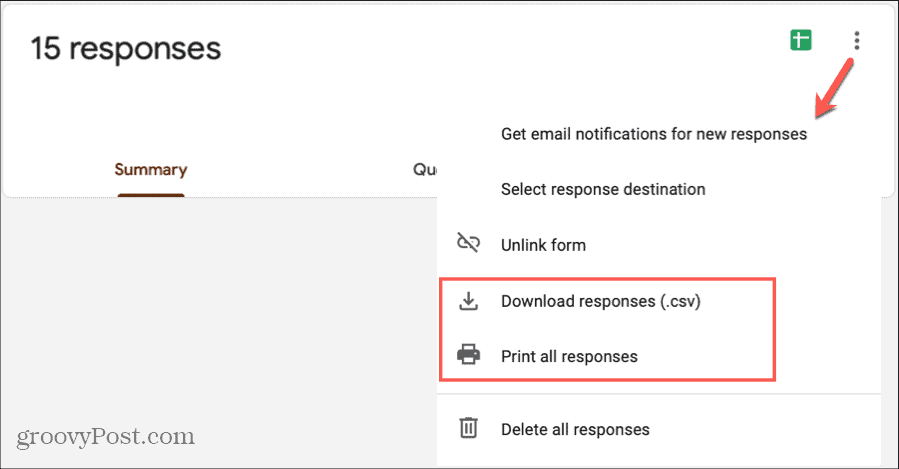 Google Forms Responses Print Download