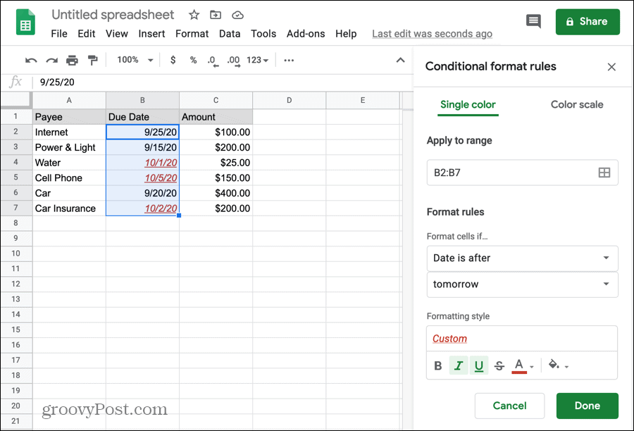 Conditional formatting for dates in Google Sheets
