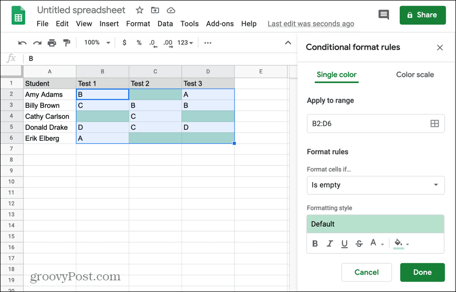 Conditional formatting for empty cells in Google Sheets