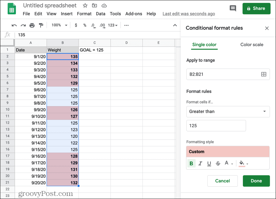 Conditional formatting for numbers in Google Sheets