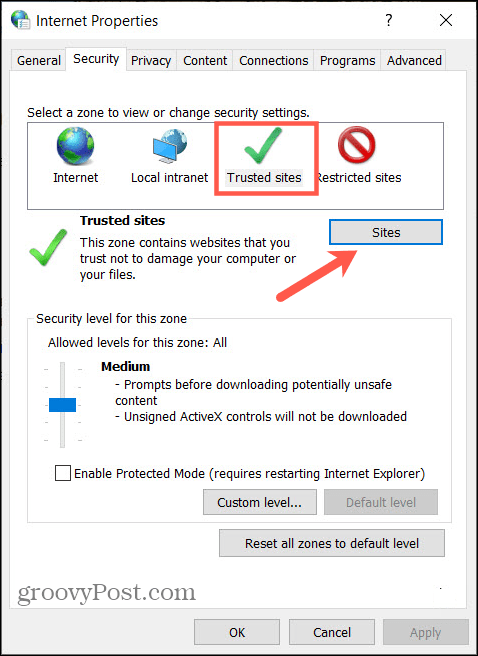 Internet Properties and Sites in Windows Control Panel