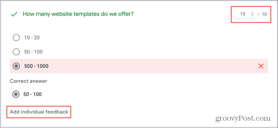 Manually Grade Quiz Individual on Google Forms