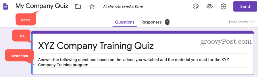 Name Title Description in Quiz on Google Forms