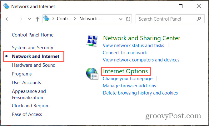 Network Internet Options in Windows Control Panel