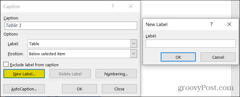 New Caption Label in Word