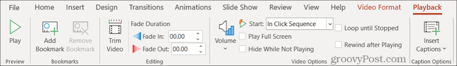 Playback Tab in PowerPoint