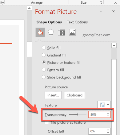 Modified transparency level for a PowerPoint shape