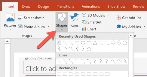 Inserting a shape into a PowerPoint presentation