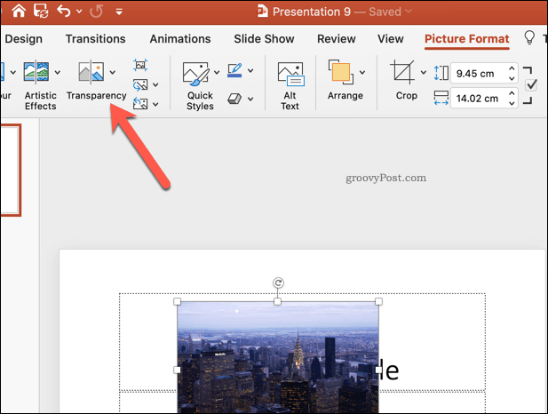 PowerPoint Transparency Button