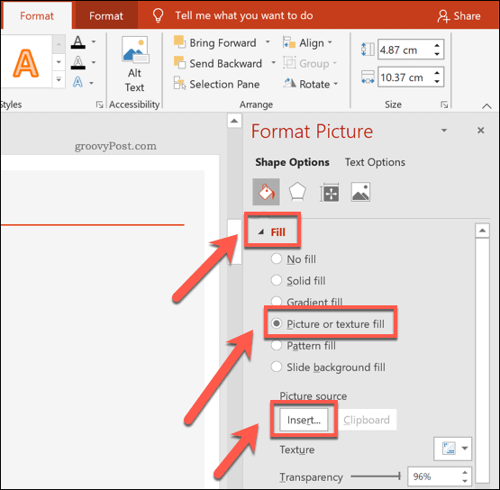 Inserting an image into a shape in PowerPoint