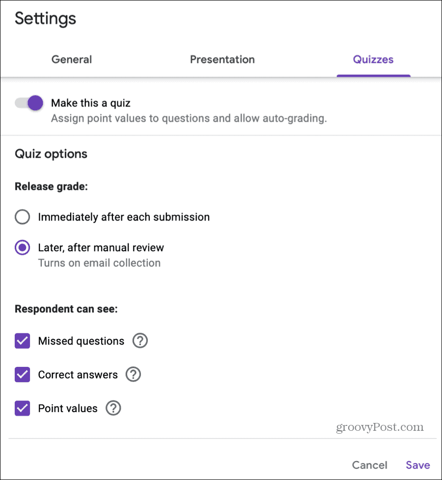 Quiz Settings on Google Forms