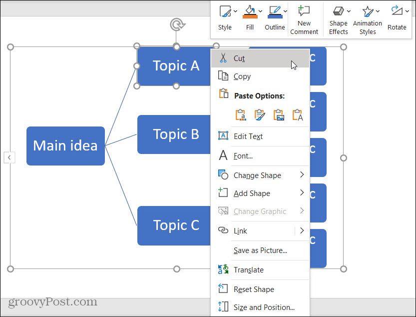 Remove a Shape on the Mind Map