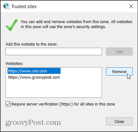 Remove Trusted Sites in Windows Control Panel