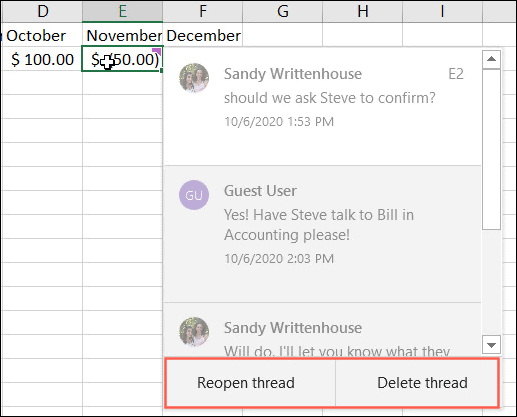 Resolved Comment in Excel