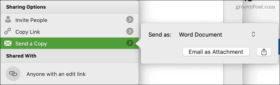 Send a Copy Word Settings on Mac
