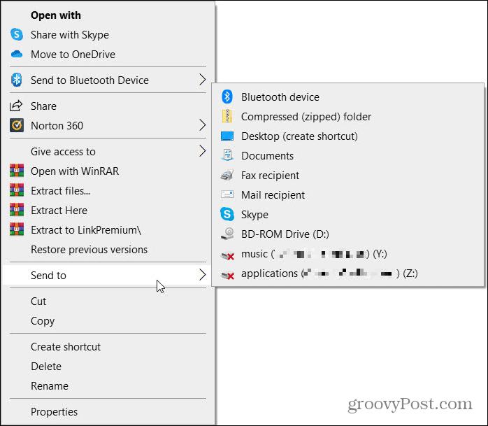 Send To Shortcut on Windows