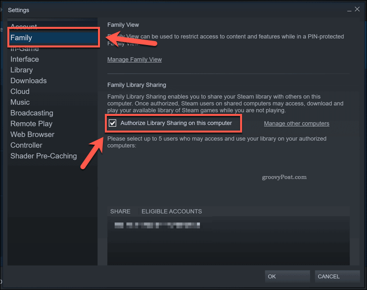 Enabling Steam Library Sharing