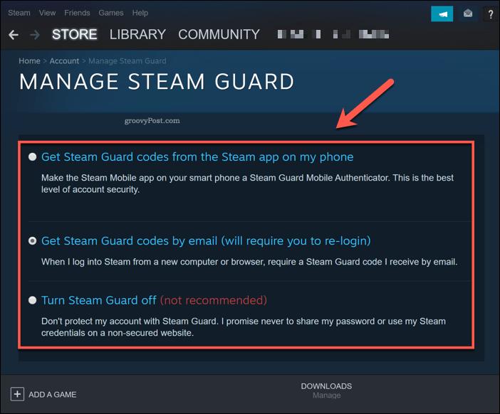 Managing Steam Guard in Windows 10