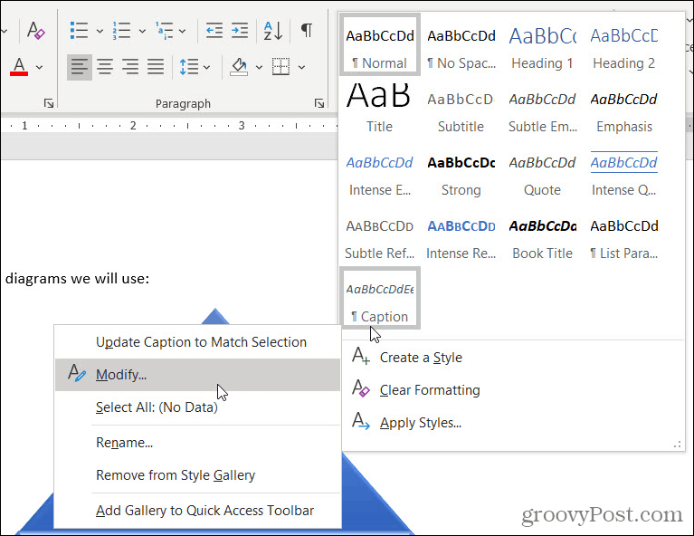 Style Captions in Word