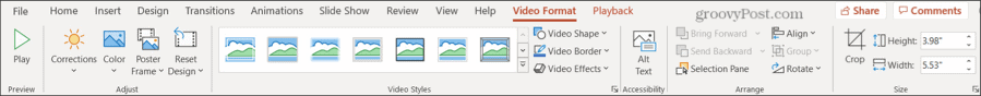 Video Format Tab in PowerPoint