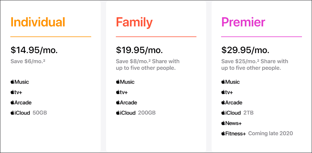 apple one subscription pricing