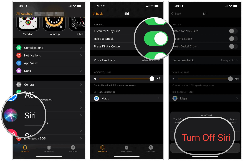 Apple Watch Siri settings