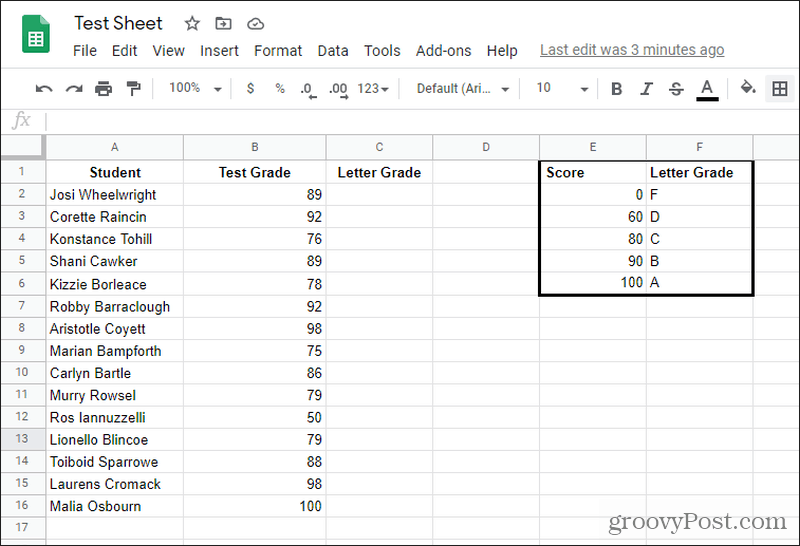 letter grades lookup table