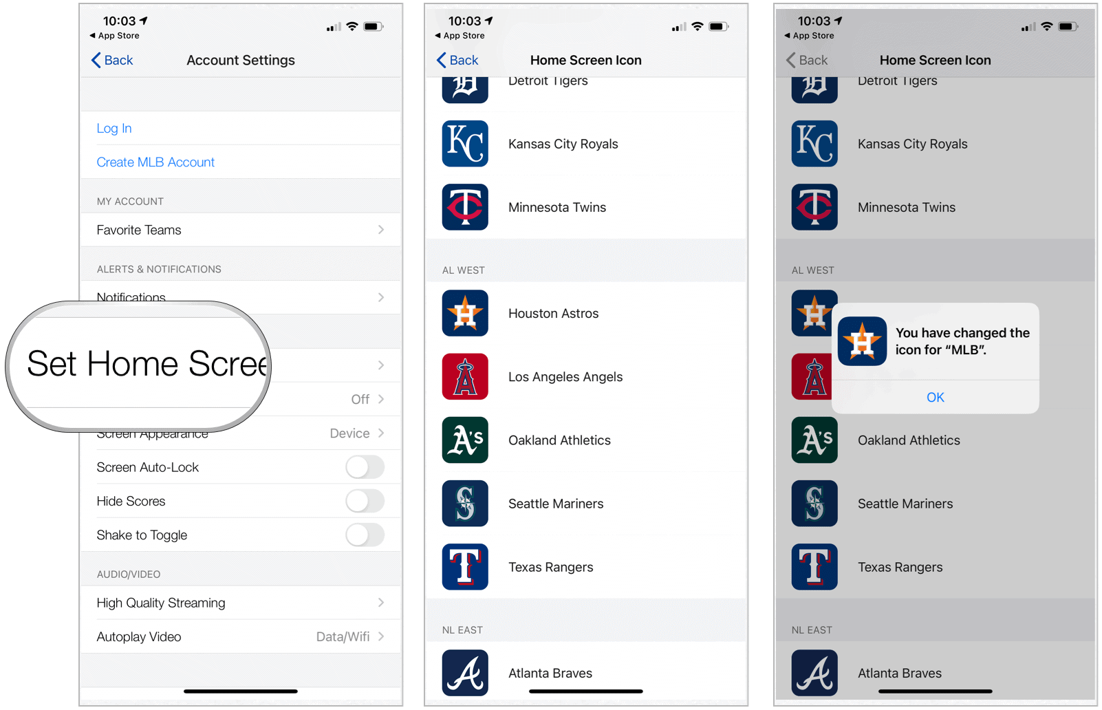 MLB Home Screen change