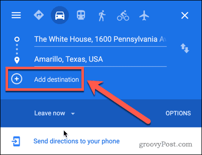 Google Maps Add Destination button