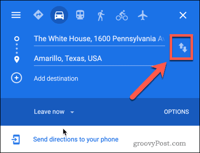 Google Maps switch locations button