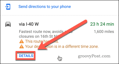 Google Maps directions details button