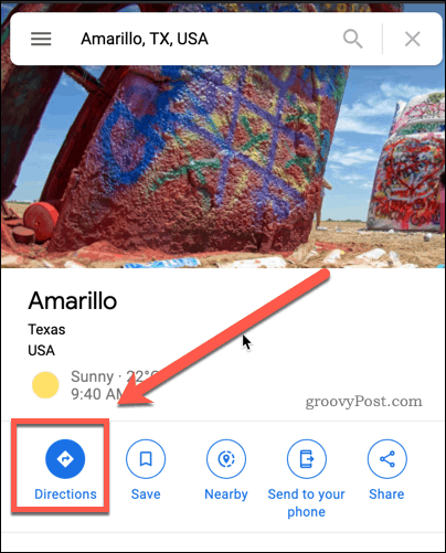 Google Maps Directions button