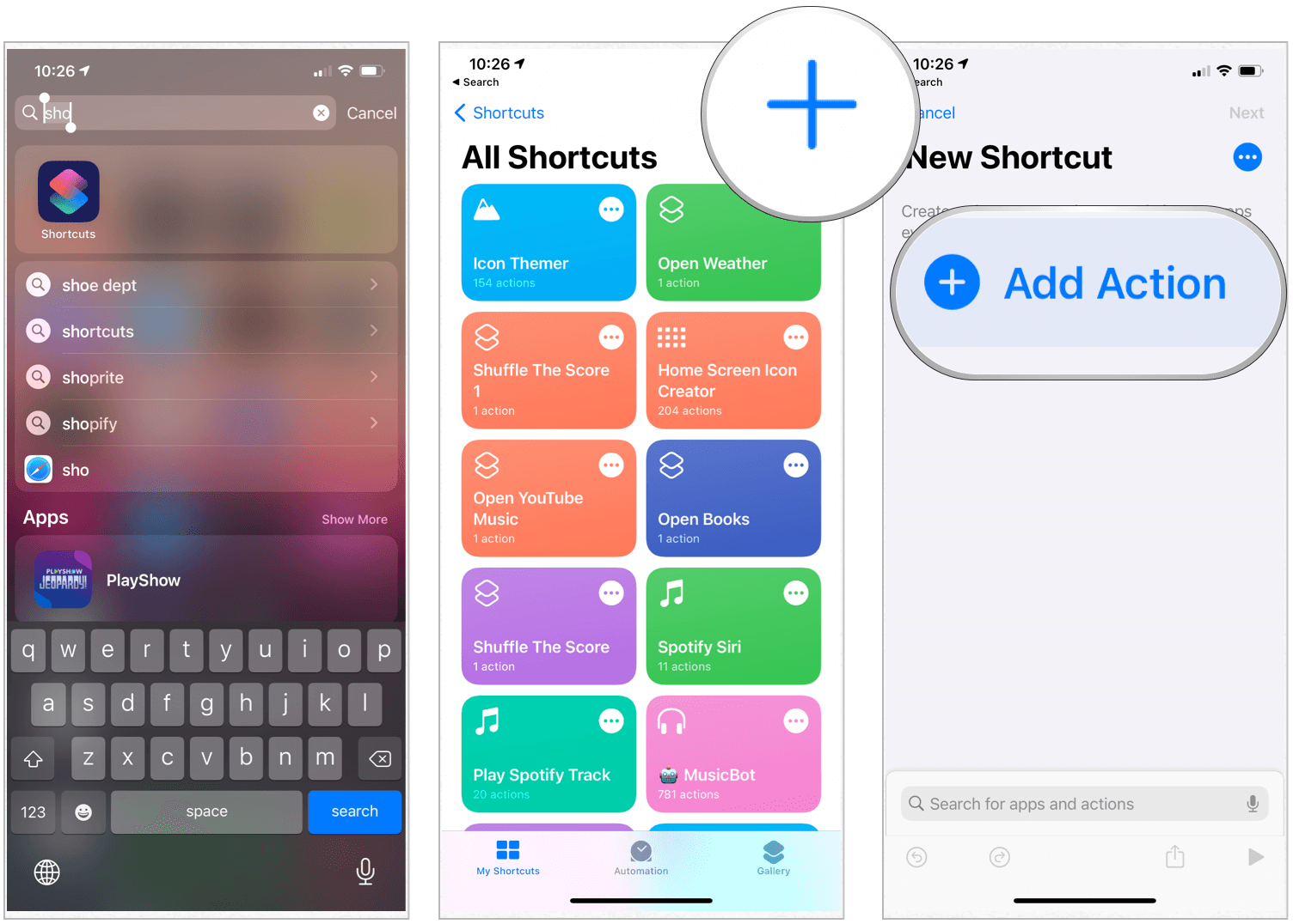 Shortcuts create icon