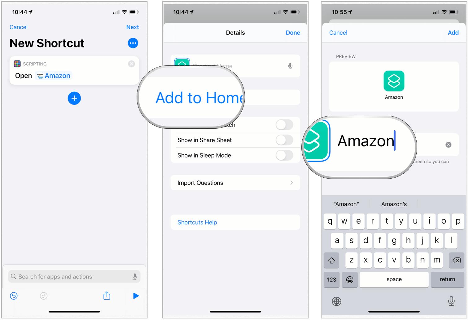 Shortcuts change app