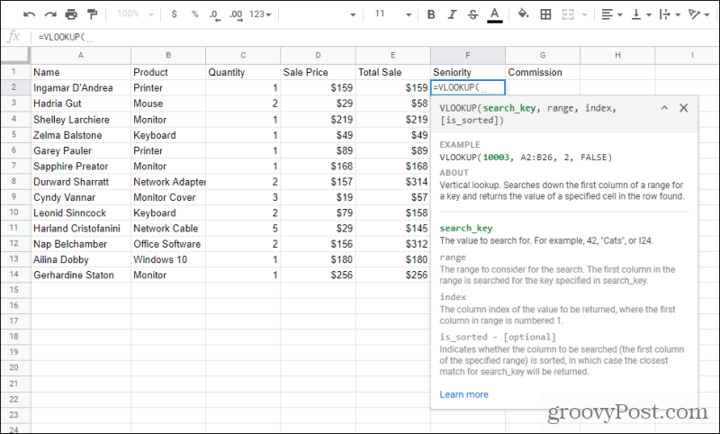typing vlookup function