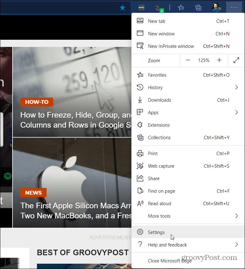 Microsoft Edge Settings