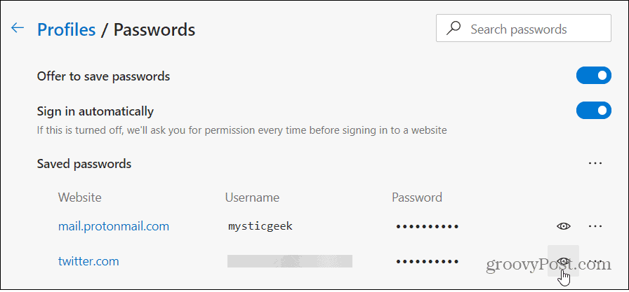 view password