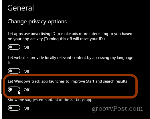 Change Privacy Options