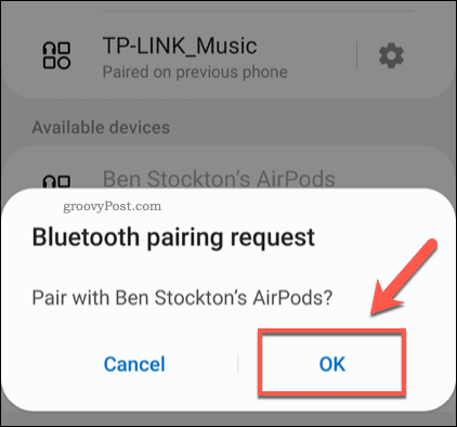 Confirming Android AirPods Pairing
